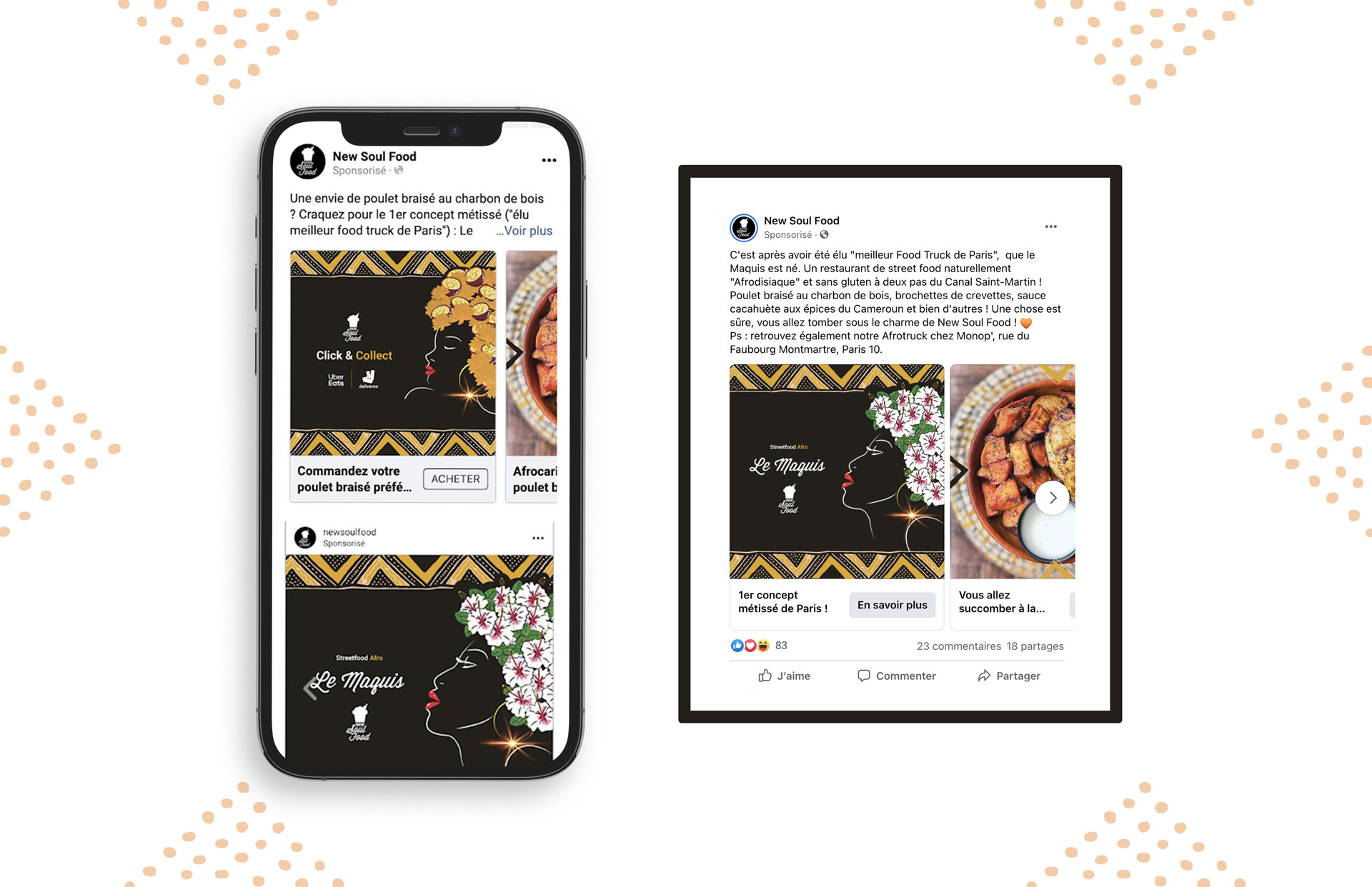 campagnes publicitaires facebook et instagram, notorieté et click & collect new soul food